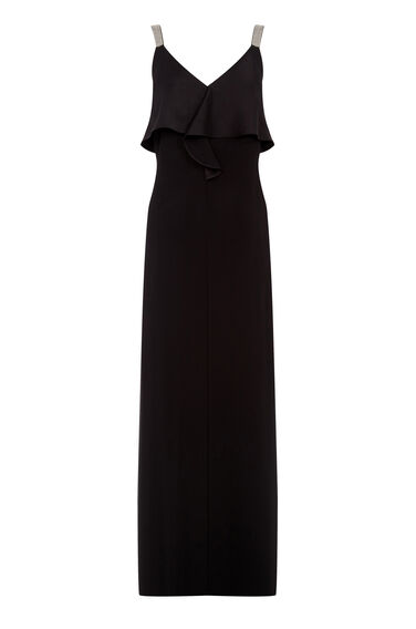 Warehouse, DIAMANTE STRAP RUFFLE MAXI DRE Black 0