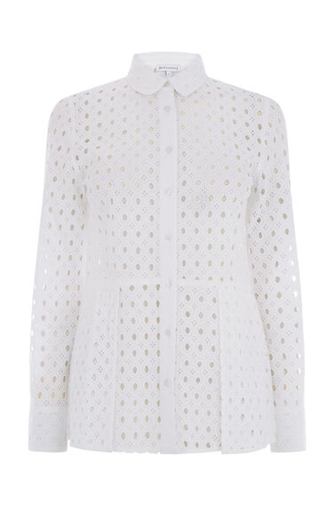 Warehouse, BRODERIE PEPLUM SHIRT White 0