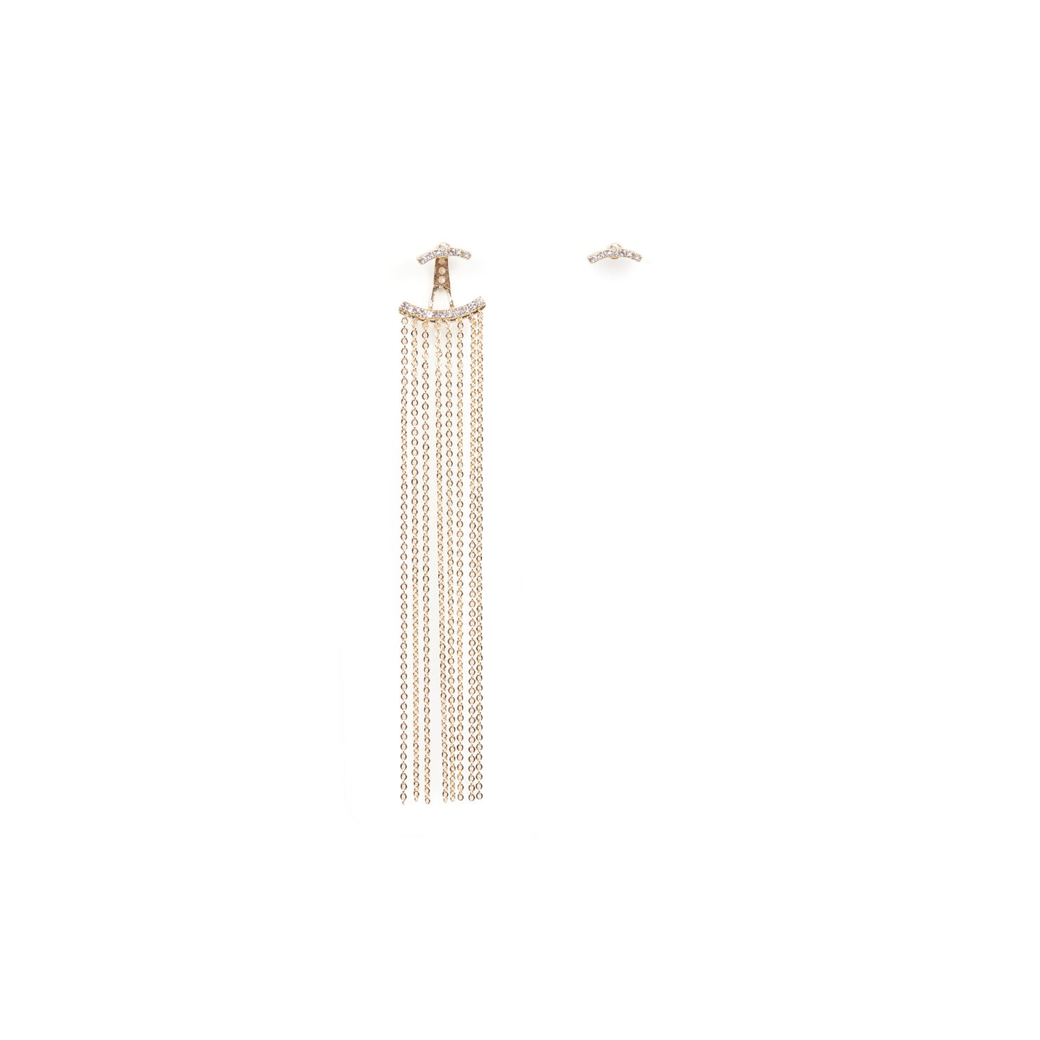 Warehouse, SINGLE STATEMENT DROP EARRING Gold Colour 1