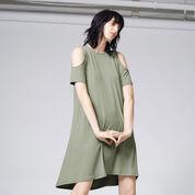 Warehouse, COLD SHOULDER DRESS Light Green 1