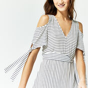 Warehouse, STRIPE TIE BEACH MIDI DRESS Blue Stripe 4