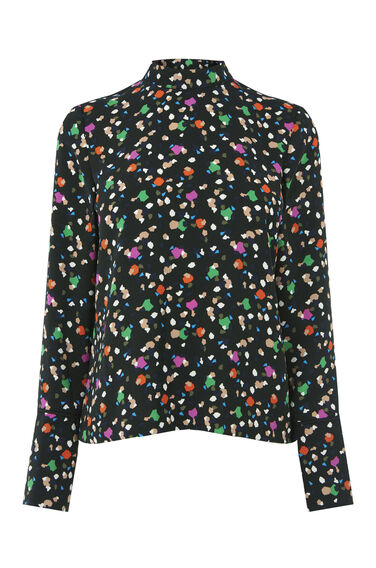 Warehouse, GEO PARTY PRINT TOP Black Pattern 0