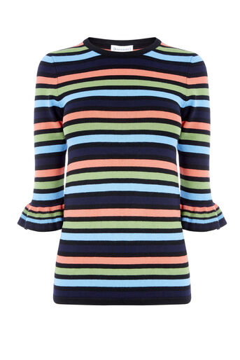 Warehouse, STRIPE FRILL CUFF JUMPER Multi 0