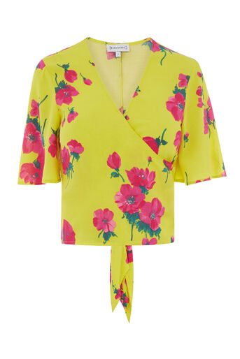 Warehouse, DELIA FLORAL TIE BACK TOP Yellow 0
