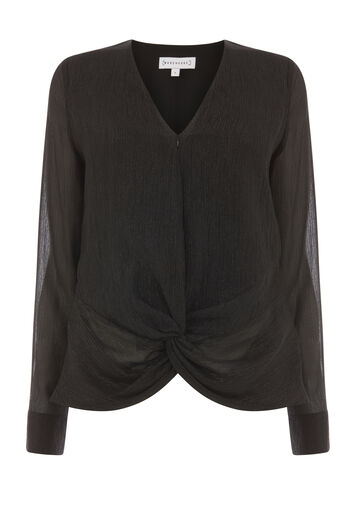 Warehouse, KNOT FRONT METALLIC TOP Black 0