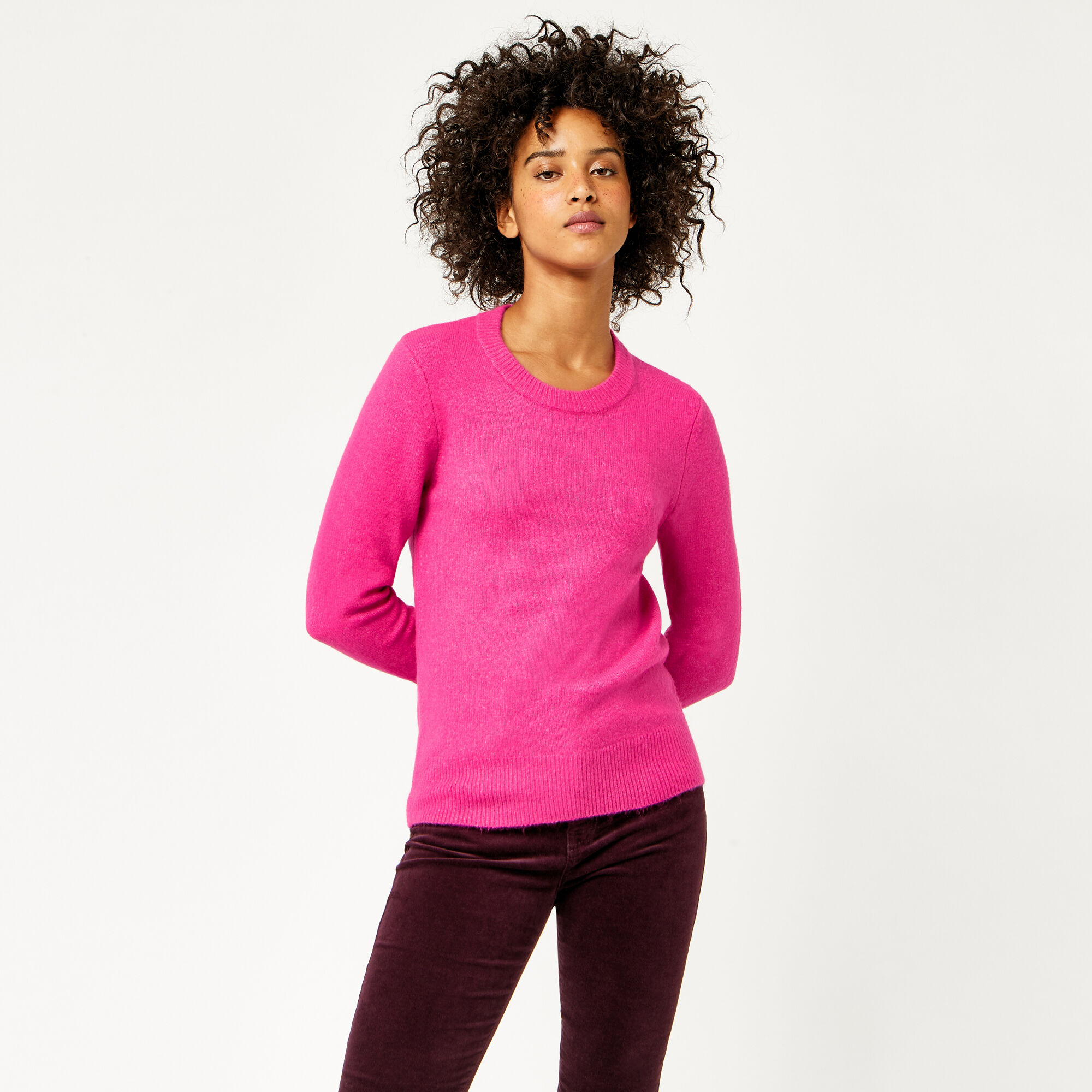 Warehouse, SOFT CREW JUMPER Bright Pink 1