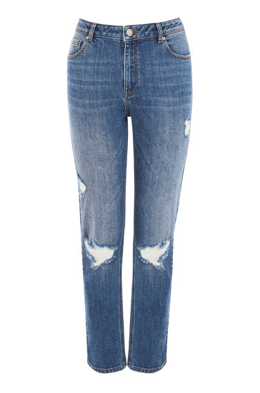 Warehouse, Distressed Straight Cut Jean Mid Wash Denim 0
