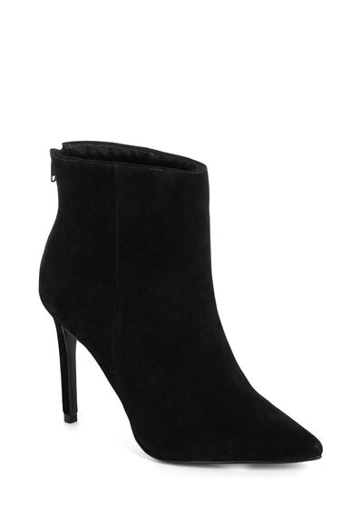 Warehouse, Pointy Heeled Ankle Boot Black 0
