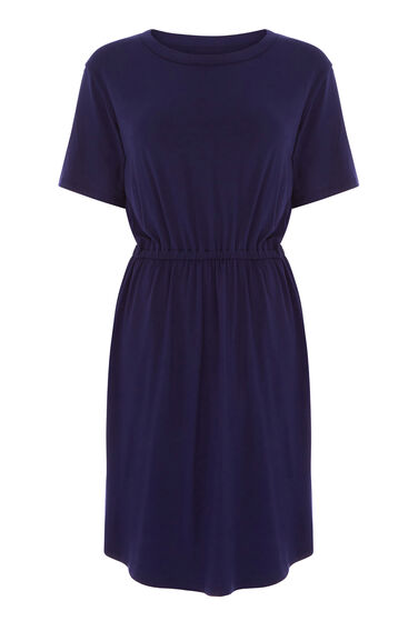 Warehouse, GATHERED WAIST T-SHIRT DRESS Navy 0
