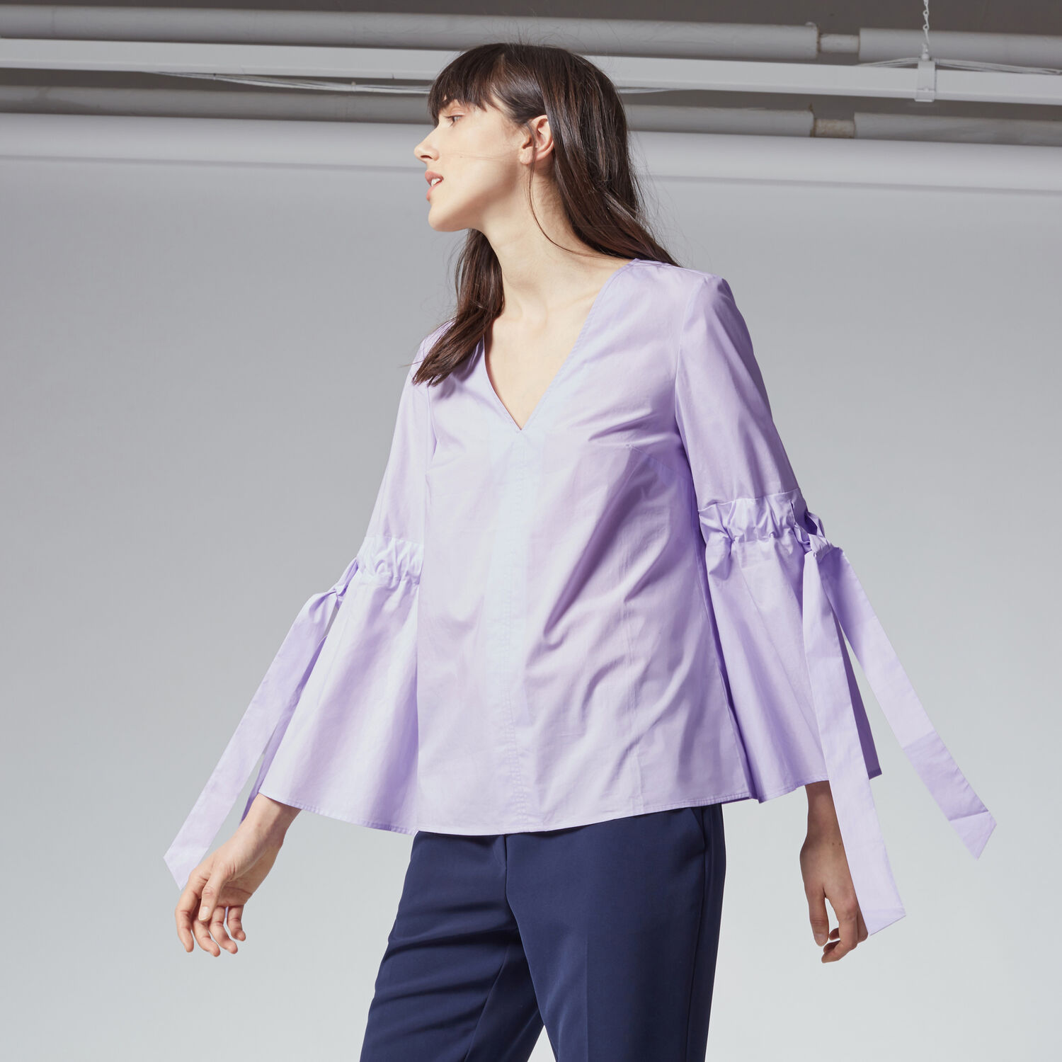 Warehouse, COTTON TIE SLEEVE TOP Lilac 1