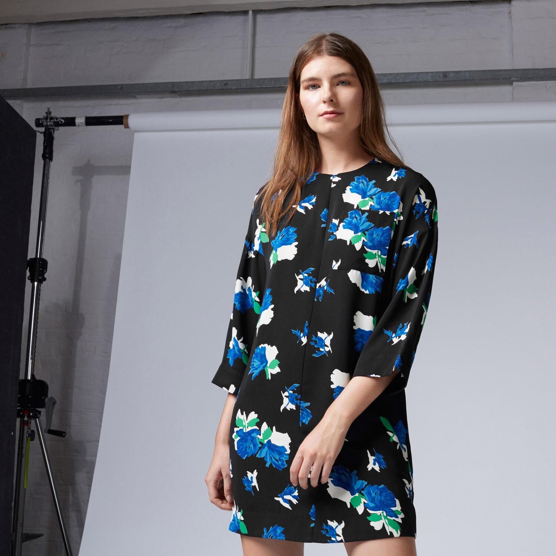 Warehouse, INK ROSE SHIFT DRESS Black 1