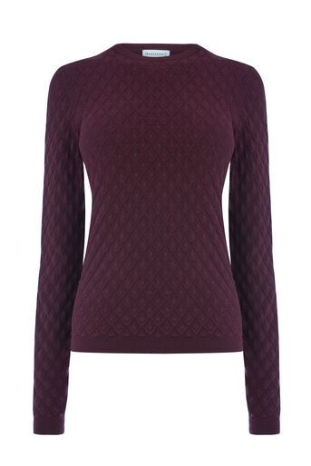 Warehouse, SCALLOP STITCH JUMPER Berry 0