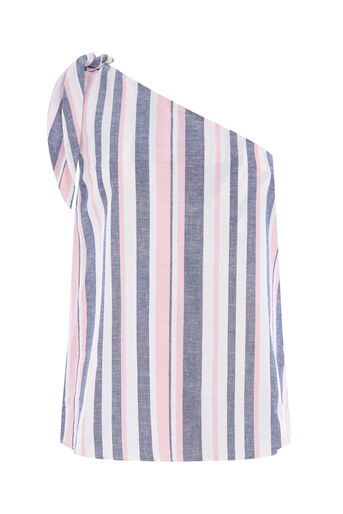 Warehouse, STRIPE TIE ONE SHOULDER TOP Pink Stripe 0