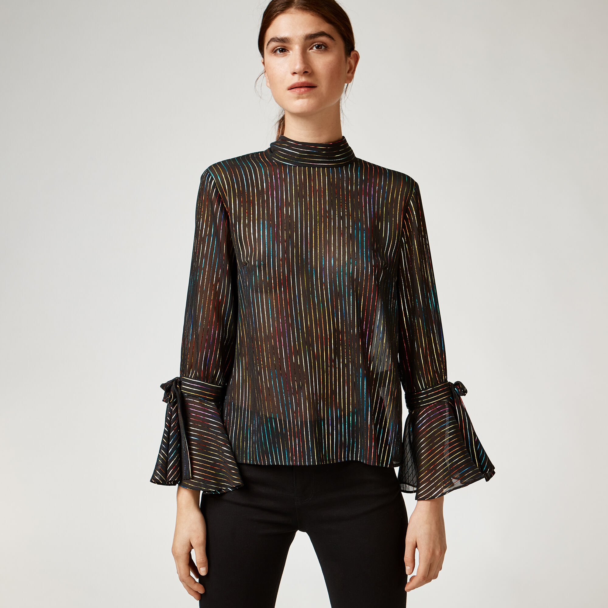 Warehouse, RAINBOW SHIMMER TIE BACK TOP Black Pattern 1