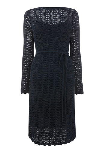 Warehouse, SPARKLE CROCHET DRESS Navy 0