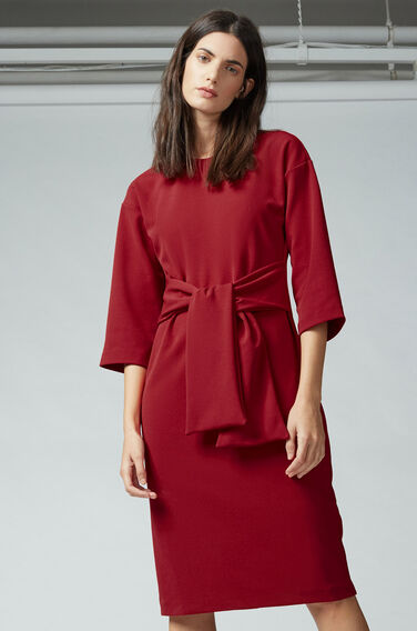 Warehouse, TIE WAIST CREPE DRESS Dark Red 1