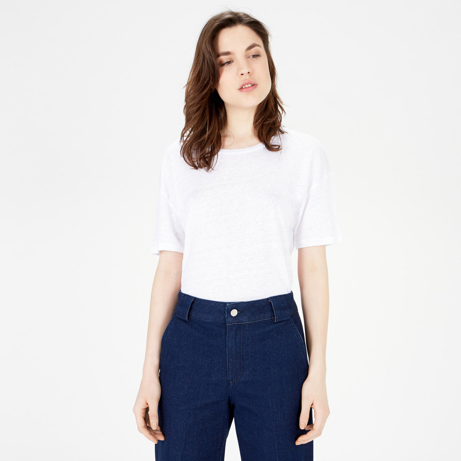 Warehouse, LINEN TEE White 1