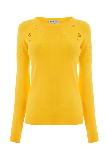 Warehouse, FLORAL EMBROIDERED JUMPER Yellow 0