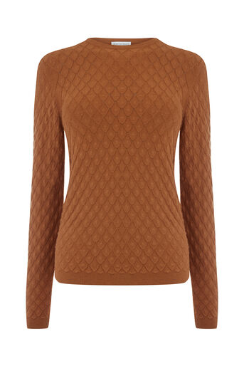 Warehouse, SCALLOP STITCH JUMPER Mustard 0