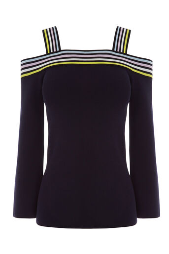 Warehouse, STRIPE TRIM BARDOT TOP Navy 0