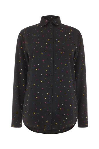 Warehouse, HEART PRINT SHIRT Black Pattern 0