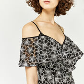 Warehouse, MONOCHROME LACE WRAP DRESS Multi 4