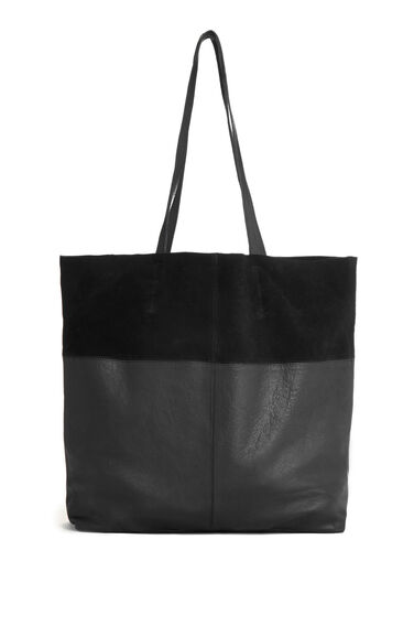 Warehouse, Leather Panelled Shopper Bag Black 0