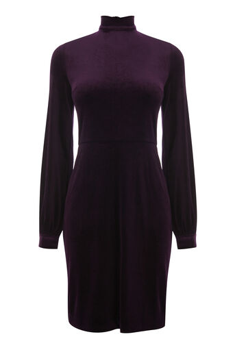 Warehouse, VELVET TIE BACK DRESS Dark Purple 0