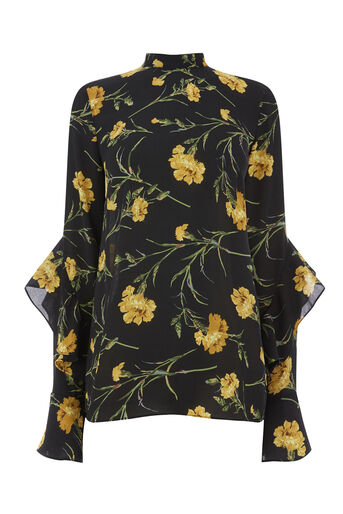 Warehouse, CARNATION PRINT TOP Black Pattern 0