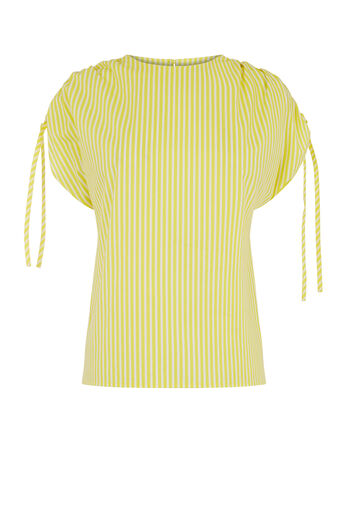 Warehouse, STRIPE RUCHED SLEEVE T-SHIRT Yellow 0