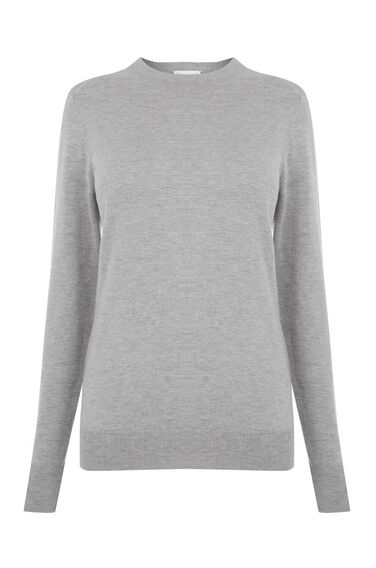 Warehouse, CREW JUMPER Light Grey 0