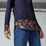 Warehouse, PAINTED FLORAL HYBRID JUMPER Navy 3