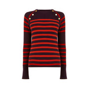 Warehouse, BUTTON DETAIL STRIPE JUMPER Red Stripe 0