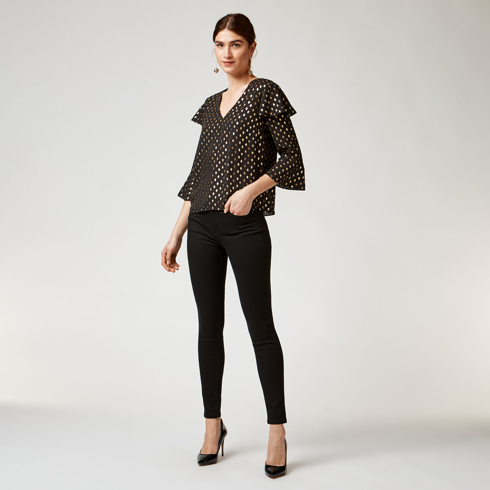 Warehouse, METALLIC SPOT RUFFLE TOP Black Pattern 1