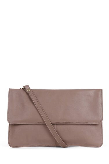 Warehouse, Clean Leather Crossbody Bag Mink 0