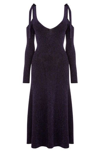 Warehouse, SPARKLE TIE SHOULDER DRESS Bright Purple 0