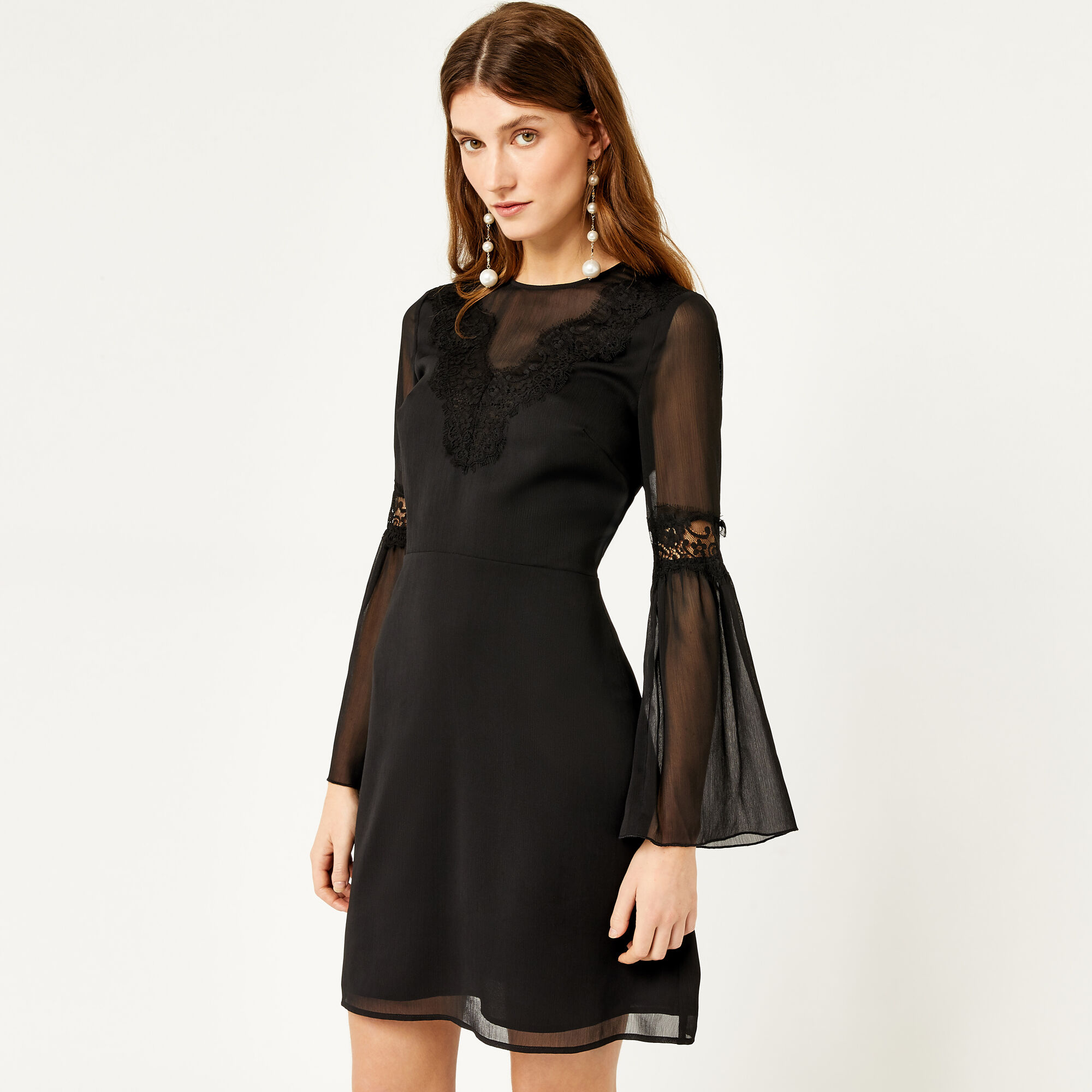 Warehouse, LACE NECK TRIM DRESS Black 1