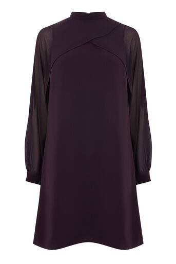 Warehouse, LAYERED CAPE DRESS Dark Purple 0