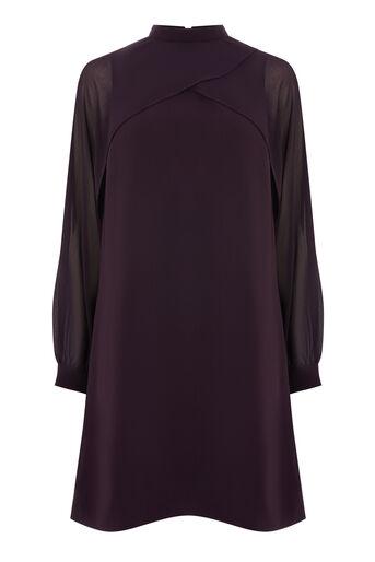 Warehouse, LAYERED CAPE DRESS Dark Purple 0