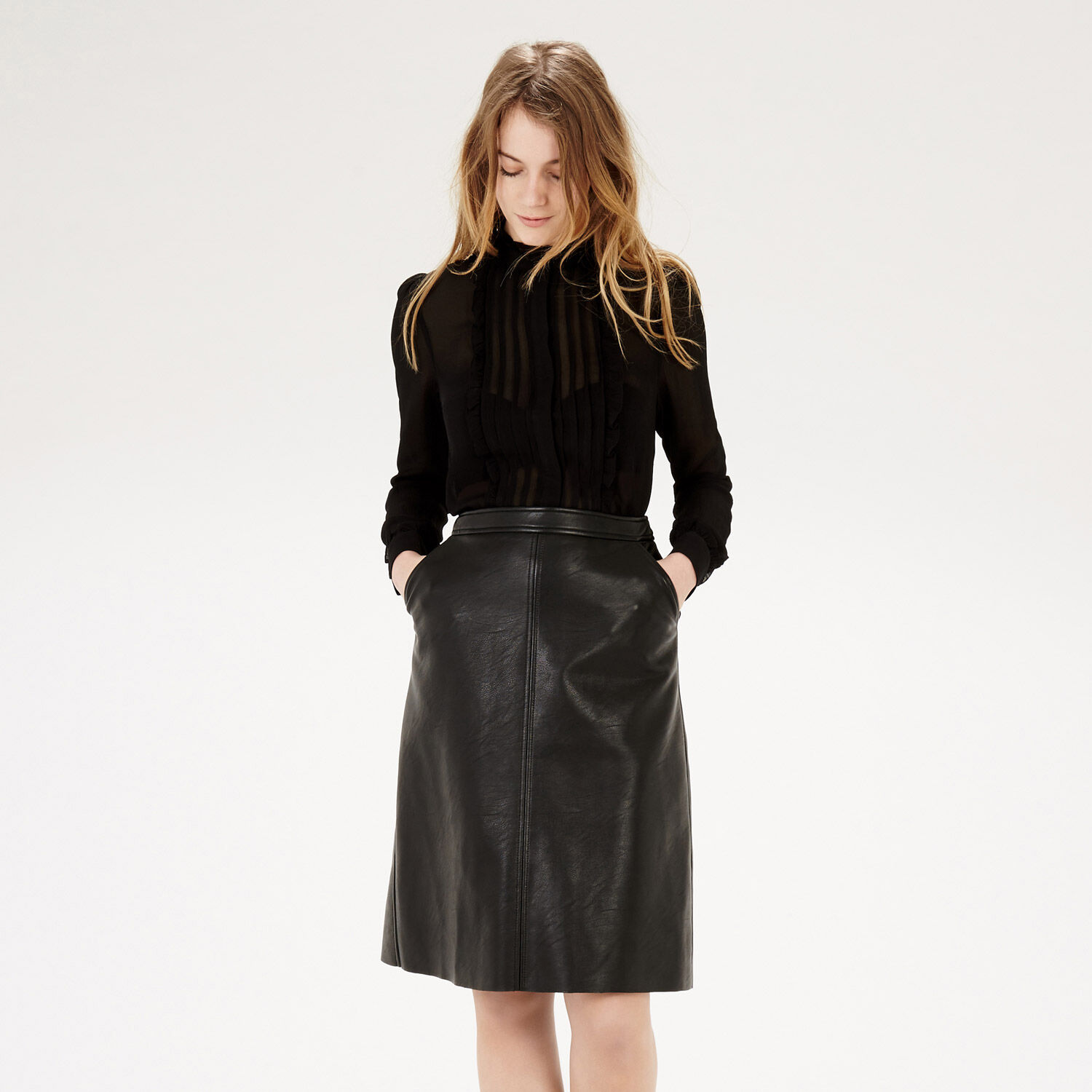 Warehouse, FRILL AND PINTUCK BLOUSE Black 1