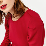 Warehouse, PUFF SLEEVE PONTE DRESS Bright Red 4