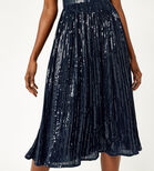 Warehouse, PLEATED SEQUIN CAMI DRESS Navy 4