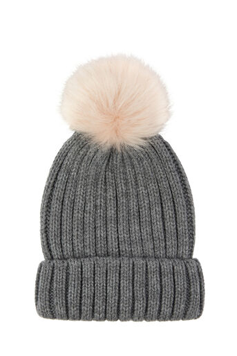 Warehouse, FAUX FUR POM HAT Light Grey 0