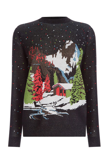 Warehouse, SNOW SCENE CHRISTMAS JUMPER Multi 0