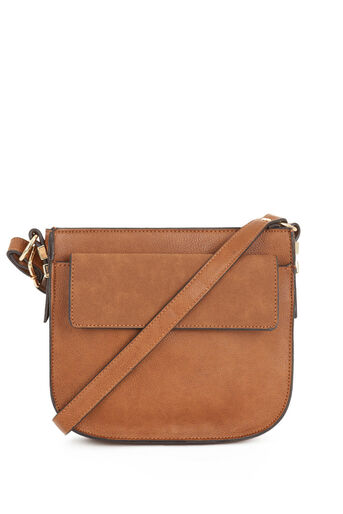 Warehouse, Small Saddle CrossBody Bag Tan 0