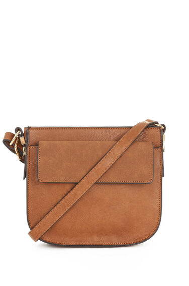 Warehouse, Small Saddle CrossBody Bag Tan 0