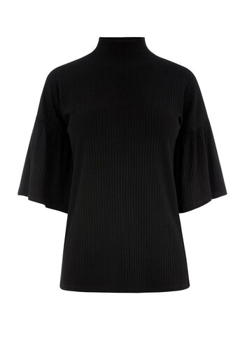 Warehouse, FLUTE SLEEVE RIB TOP Black 0