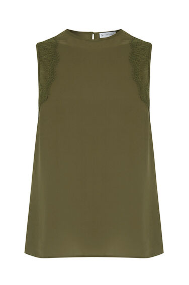 Warehouse, SLEEVELESS LACE DETAIL TOP Khaki 0