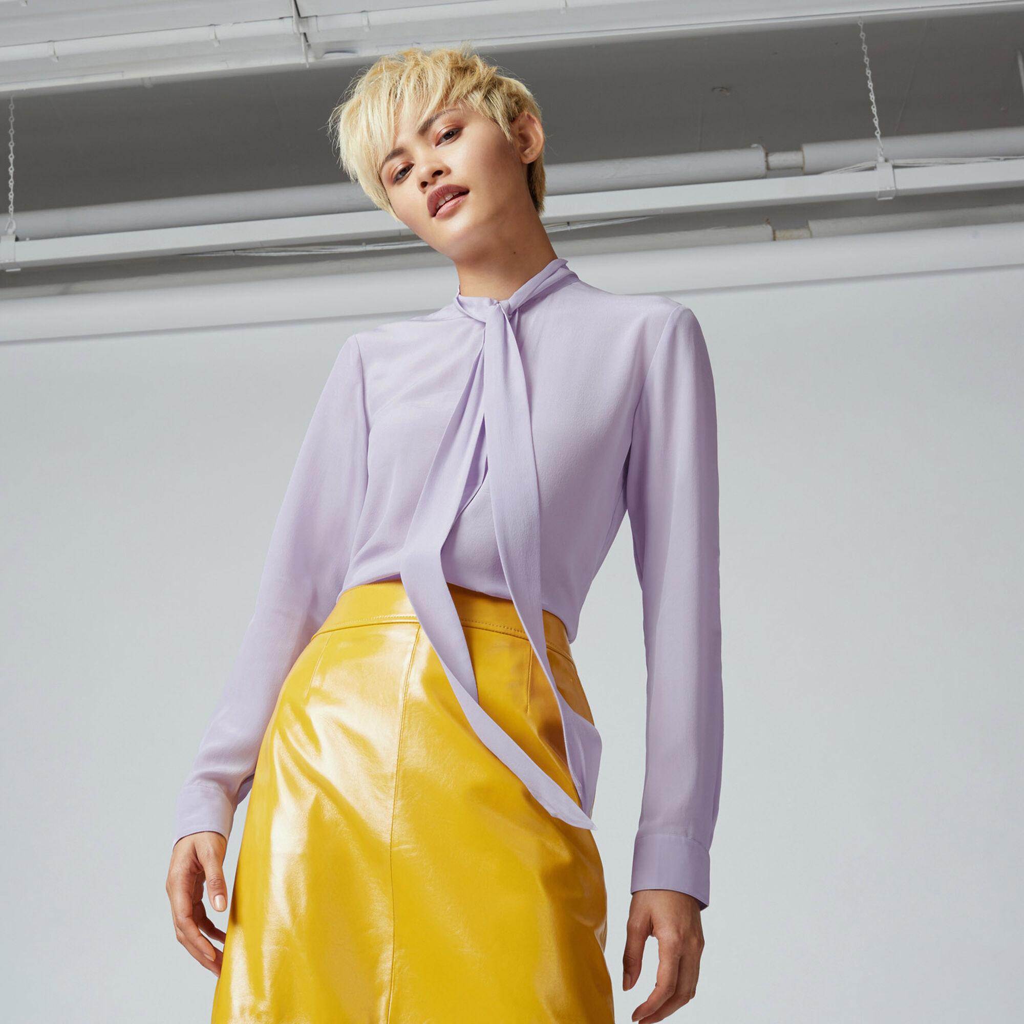 Warehouse, SILK TIE NECK BLOUSE Lilac 1