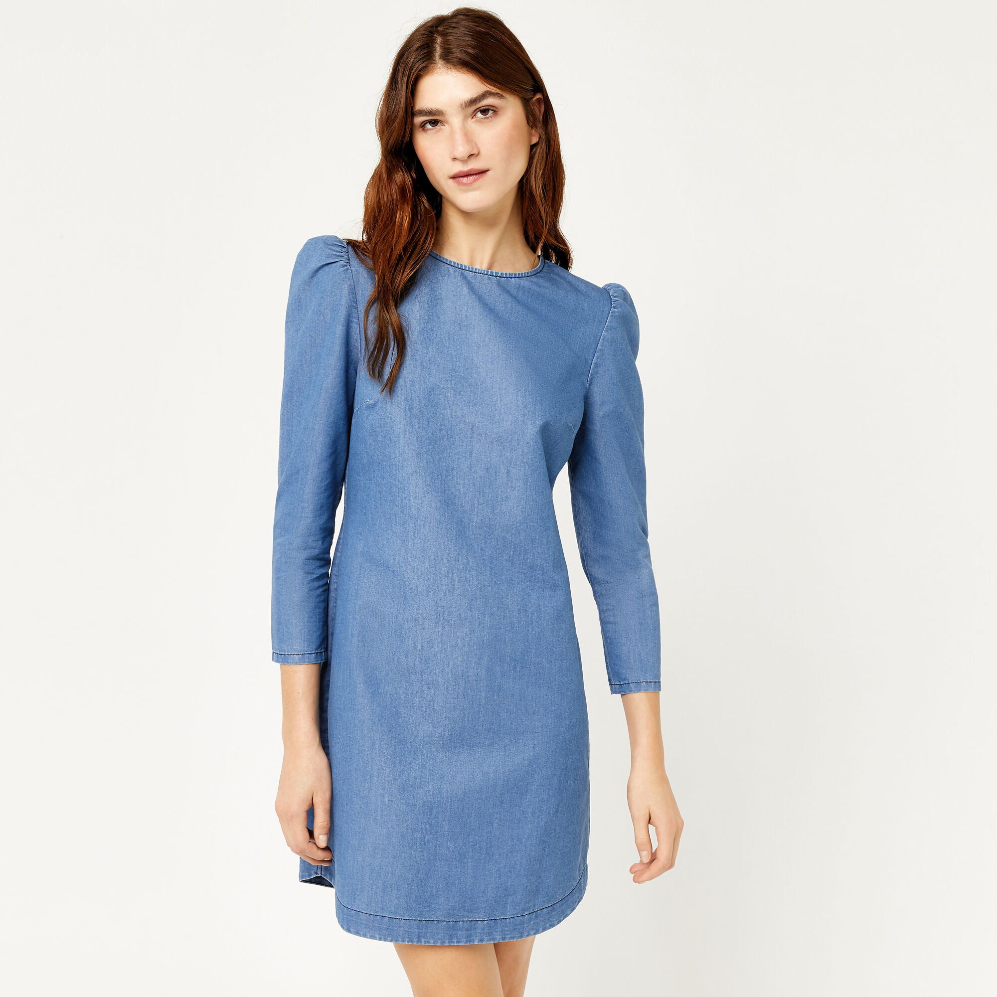 Warehouse, PUFF SLEEVE DRESS Mid Wash Denim 1